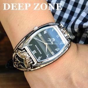 腕時計 ブレスウォッチ パイソンレザーベルト Deep Zone トノーフェイス ブラックフェイス スネークレザーベルト 専用ケース付属 プレゼント ギフト|cowbell