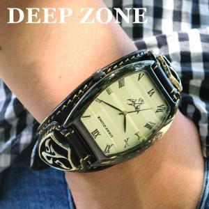 腕時計 ブレスウォッチ イタリアンレザーベルト Deep Zone トノーフェイス ホワイトフェイス ブラックベルト ロゴコンチョ 専用ケース付属 ギフト|cowbell