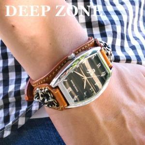 腕時計 ブレスウォッチ イタリアンレザーベルト Deep Zone トノーフェイス ブラックフェイス ブラウンベルト クロスコンチョ 専用ケース付属 ギフト|cowbell