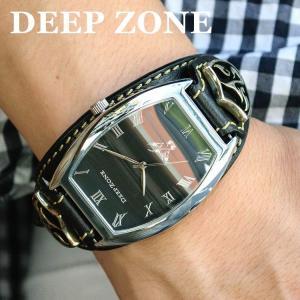 腕時計 ブレスウォッチ イタリアンレザーベルト Deep Zone トノーフェイス ブラックフェイス ブラックベルト ロゴコンチョ 専用ケース付属 ギフト|cowbell