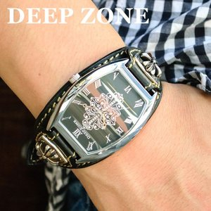 腕時計 ブレスウォッチ イタリアンレザーベルト Deep Zone トノーフェイス ジルコニア ブラックフェイス ブラックベルト クロスコンチョ 専用ケース|cowbell