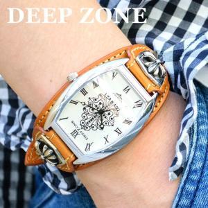 腕時計 ブレスウォッチ イタリアンレザー ベルトDeep Zone トノーフェイス ジルコニア ホワイトフェイス ブラウンベルト クロスコンチョ 専用ケース|cowbell
