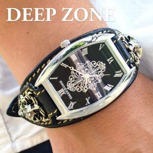 腕時計 ブレスウォッチ イタリアンレザーベルト Deep Zone トノーフェイス ジルコニア ブラックフェイス ブラックベルト ロゴコンチョ 専用ケース付|cowbell