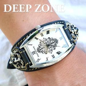 腕時計 ブレスウォッチ イタリアンレザー ベルトDeep Zone トノーフェイス ジルコニア ホワイトフェイス ブラックベルト クロスコンチョ 専用ケース|cowbell
