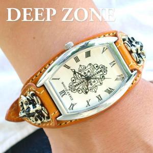 腕時計 ブレスウォッチ イタリアンレザーベルト Deep Zone トノーフェイス ジルコニア ホワイトフェイス ブラウンベルト クロスコンチョ 専用ケース|cowbell