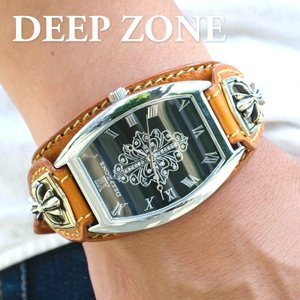 腕時計 ブレスウォッチ イタリアンレザーベルト Deep Zone トノーフェイス ジルコニア ブラックフェイス ブラウンベルト クロスコンチョ 専用ケース|cowbell