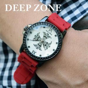 腕時計 ブレスウォッチ ラバーブレス Deep Zone ラウンドケース ジルコニア シルバーフェイス リリィコンチョ 専用ケース付属 プレゼント ギフト|cowbell