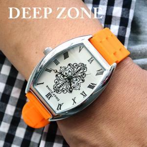 腕時計 ブレスウォッチ ラバーブレス Deep Zone トノーフェイス ジルコニア シルバーフェイス リリィコンチョ 専用ケース付属 プレゼント ギフト|cowbell