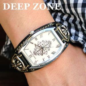 腕時計 ブレスウォッチ イタリアン レザーベルト Deep Zone トノーフェイス ジルコニア ホワイトフェイス ブラックベルト 専用ケース付属 ギフト|cowbell