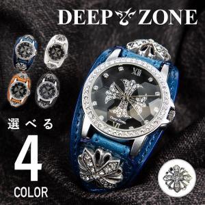 腕時計 本革 ブレスウォッチ ブルー ジルコニアクロス イタリアンレザー|cowbell