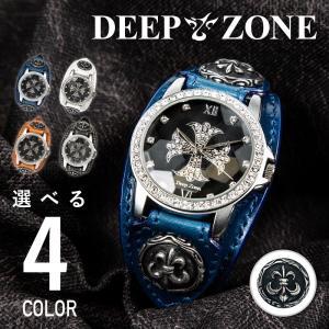 腕時計 ブレスウォッチ メンズ カジュアル ビジネス 百合コンチョ ブルー イタリアンレザー DEEP ZONE プレゼント ギフト|cowbell