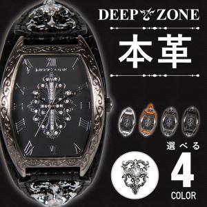 腕時計 アラベスク柄 レザー ブレスウォッチ 牛革 クロコ型押し トノーフェイス DEEP ZONE ジルコニア ブラックフェイス コンチョ 専用ボックス付き wc046|cowbell