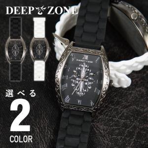 腕時計 アラベスク柄 ラバー ブレスウォッチ トノーフェイス ジルコニアクロス ブラックフェイス DEEP ZONE 専用ボックス付き wc051|cowbell