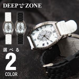 腕時計 アラベスク柄 ラバー ブレスウォッチ トノーフェイス ジルコニアクロス シェルプレート DEEP ZONE 専用ボックス付き wc052|cowbell