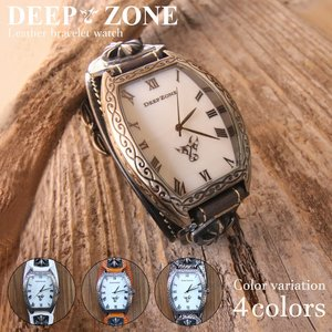 Deep zone メンズ腕時計  レザー ブレスウォッチ 牛革 パイソン アラベスク柄 トノーフェイス シェルプレート ギフト 誕生日プレゼントにも wc053|cowbell