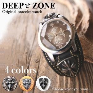 DEEP ZONE メンズ 腕時計 レザー ブレスウォッチ 本革 牛革 イタリアンレザー 蛇革 パイソン ギフト クロスコンチョ 誕生日プレゼントにも wc054|cowbell