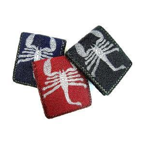 財布 二つ折り 本革 スティングレー スコーピオンデザイン ハーフウォレット [二つ折り財布] プレゼント ギフト|cowbell