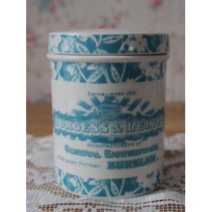 (取り扱い終了お買い得品♪)BURLEIGHバーレー社製ヘリテージティール ストレージジャースモール11cm 陶器 イギリス 保存容器|cozymom