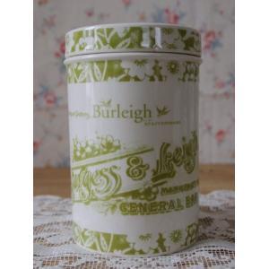 (取り扱い終了お買い得品♪)BURLEIGHバーレー社製ヘリテージオリーブ ストレージジャーミディアム15.5cm 陶器 イギリス 保存容器|cozymom