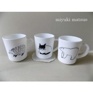 松尾ミユキ 食器 Milk Glass Mug マグカップ アニマル ミルクガラス|cozymom