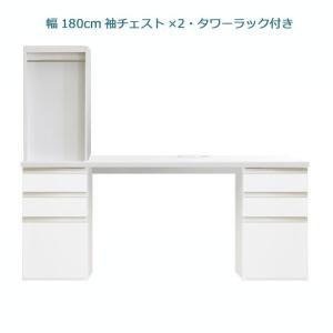 システムデスクセット パレット 幅180cm 机 サイドチェスト2個 書棚付 グロスホワイト ウォールナット cozyroom