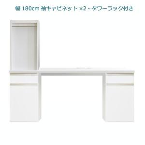 システムデスクセット パレット 幅180cm  サイドキャビネット2個 書棚付 グロスホワイト ウォールナット cozyroom