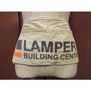 ビンテージ-70's●Lampert BUILDING CENTERコットンキャンバスワークエプロン生成り●210103s4-aprアドバタイジングワーク前掛けUSA|cozyvintage