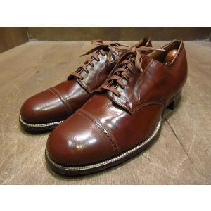 ビンテージ40's●DEADSTOCK CONNOLLYキッドスキンキャップトゥシューズ茶7E●210114n2-m-dshs-255cm 1940sデッドストック革靴|cozyvintage