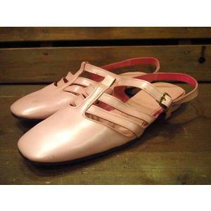 ビンテージ70's★DEAD STOCKレザーストラップミュールピンク6 1/2 B/AA★210120s11-w-sdl-23cm 1970sデッドストックレディース靴レトロ|cozyvintage