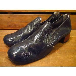 ビンテージ70's★DEAD STOCKエナメルパンプス紺5★210120s9-w-pmp-22cm 1970sデッドストックレディース靴レトロ|cozyvintage