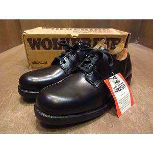 ビンテージ70's80's●DEADSTOCK WOLVERINEプレーントゥシューズ黒8 1/2 D●210121n1-m-dshs-265cm 1970s1980sデッドストック革靴 cozyvintage