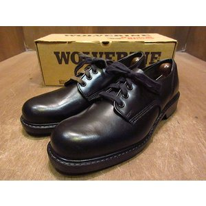 ビンテージ70's80's●DEADSTOCK WOLVERINEプレーントゥシューズ黒9B●210121n2-m-dshs-27cm 1970s1980sデッドストック靴ワーク|cozyvintage