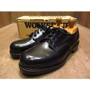 ビンテージ70's80's●DEADSTOCK WOLVERINEプレーントゥシューズ黒10 D●210121n3-m-dshs-28cm 1970s1980sデッドストックワーク靴|cozyvintage