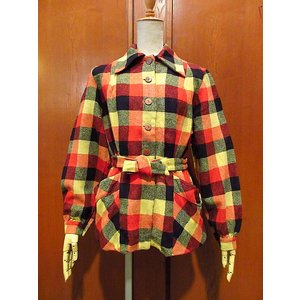 ビンテージ40's50's●レディースチェックウールシャツジャケット●210121s1-w-jk-wl USAチェック柄長袖古着|cozyvintage