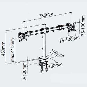 モニターアーム デュアル 8軸式 13〜27インチ対応 2面 2枚|cpfyell|02