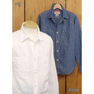 ウエス ues シャンブレーワークシャツ No 500954 シャンブレー ホワイト|craft-ac