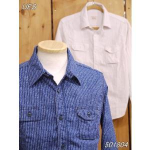 ウエス ues インディゴストライプワークシャツ No 501804 インディゴ オフホワイト|craft-ac