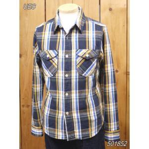 ウエス ネルシャツ UES 先染ヘビーネルシャツ ネイビー No 501852|craft-ac