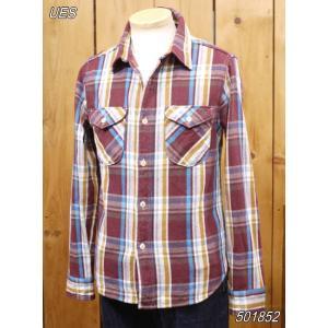 ウエス ネルシャツ UES 先染ヘビーネルシャツ ワイン No 501852|craft-ac