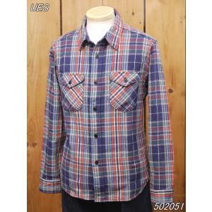 ウエス ネルシャツ UES 先染ヘビーネルシャツ ネイビー No 502051|craft-ac