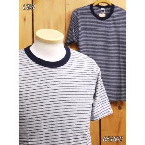ウエス UES インディゴボーダーTシャツ インディゴ グレー 651801|craft-ac