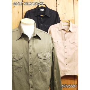 バズリクソンズ ヘリンボーンワークシャツ BR26081 オリーブ ブラック ベージュ buzzricksons|craft-ac