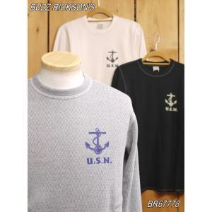 バズリクソンズ U.S.N. サーマルTシャツ グレー ブラック ナチュラル BR67778|craft-ac