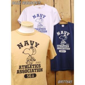 バズリクソンズ NAVY ATHLETICS スヌーピーTシャツ オレンジ ホワイト ネイビー BR77845|craft-ac