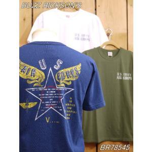 バズリクソンズ U.S.ARMY AIR CORPS Tシャツ ネイビー ホワイト オリーブ BR78545|craft-ac