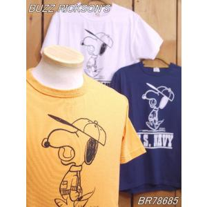 バズリクソンズ US NAVY スヌーピーTシャツ オレンジ ホワイト ネイビー BR78685 buzzrickson's|craft-ac