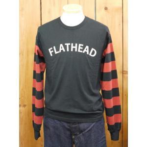 フラットヘッド Tシャツ THE FLAT HEAD BTL-09W ボーダー長袖Tシャツ ブラック×ブラウン|craft-ac