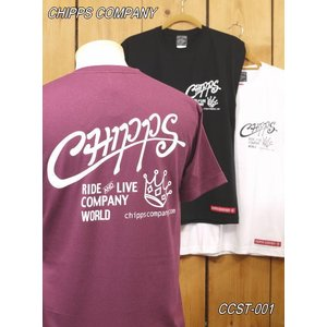 チップスカンパニー CROWN Tシャツ CCST-001 バーガンディー ホワイト ブラック Cipps Company|craft-ac