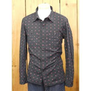 フラットヘッド シャツ CO-35W ネイティブプリントワークシャツ ブラック |craft-ac