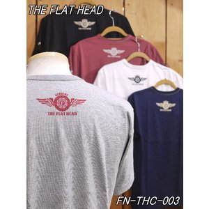 フラットヘッド Tシャツ FN-THC-003 SMALL FLYING WHEEL 丸胴半袖Tシャツ ネイビー ホワイト ブラック flathead|craft-ac